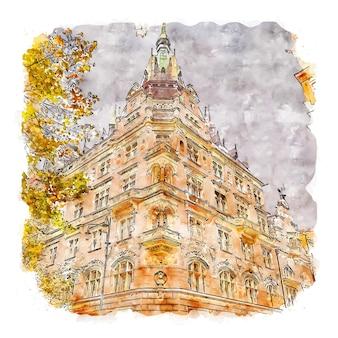 Praha tschechien aquarellskizze handgezeichnete illustration