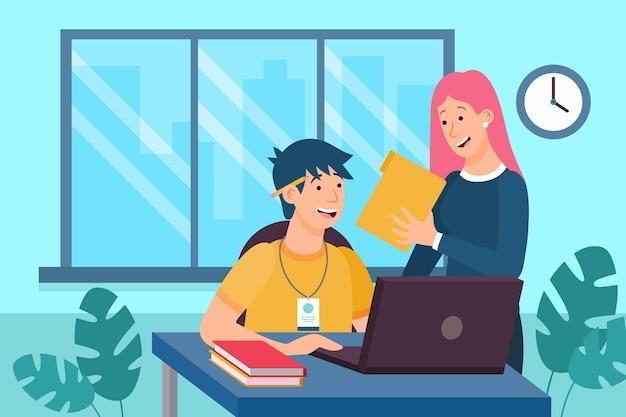 Praktikant und mitarbeiter sprechen über arbeit