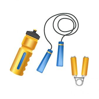 Praktische plastikflasche, weites springseil und kleinwaffentrainer