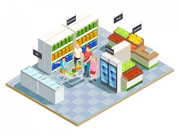 Praktische shop-familienkomposition