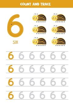 Praxis der nummernverfolgung. nummer sechs schreiben. netter colorado käfer.