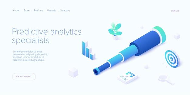 Predictive analytics auf der zielseite für isometrische illustrationen