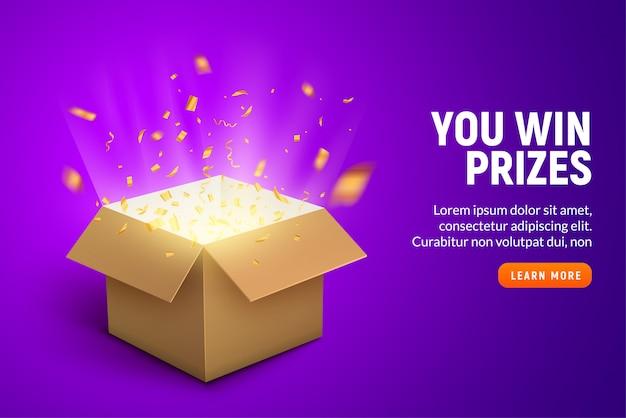 Preis geschenkbox konfetti explosion hintergrund. open box gewinner belohnung