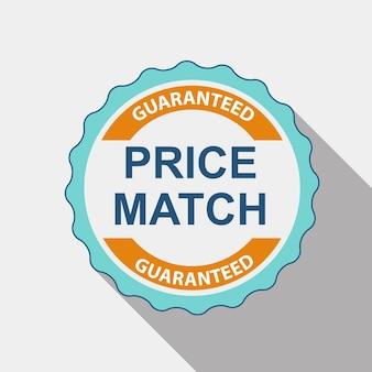 Preis-match-qualitätslabel-set im flachen modernen design mit langem schatten. vektor-illustration eps10