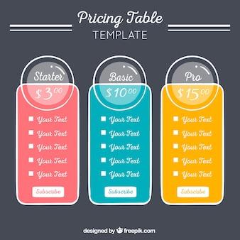 Preis-vorlage mit drei verschiedenen farben