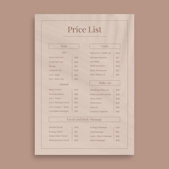 Preisliste für elegante minimalistische schönheitssalons