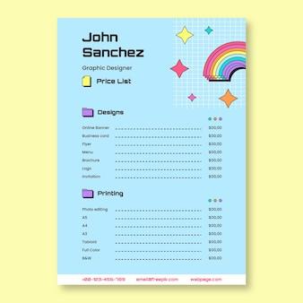 Preisliste für moderne grafikdesigner