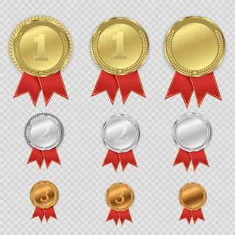 Preismedaillen isoliert auf transparentem hintergrund. illustration des gewinnerkonzepts.