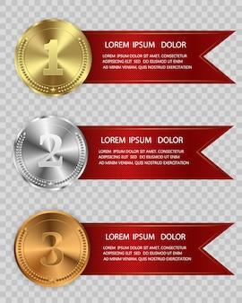 Preismedaillen isoliert auf transparentem hintergrund. vektorillustration eines gewinnerkonzepts.