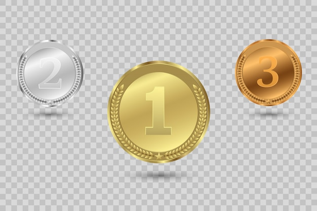 Preismedaillen isoliert auf transparentem hintergrund.