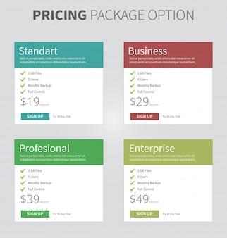 Preispaket mit vier tabellenquadraten
