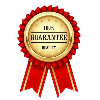 Preisrosette mit goldmedaille und rotem band - qualitätsgarantie