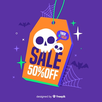 Preisschild flach halloween-verkauf