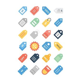 Preisschild flache icons pack