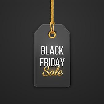 Preisschild für den black friday-verkauf. schwarzes etikett, das am goldseil hängt. rabattetikett auf schwarzem hintergrund. black friday design, werbung, marketing-preisschild. realistische 3d-vektor-illustration.