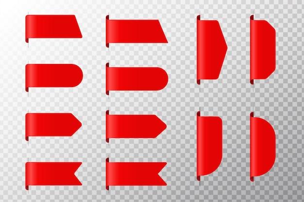 Preisschild-vektorsammlung. ribbon sale label sonderangebote für rabatte auf produktpreise.