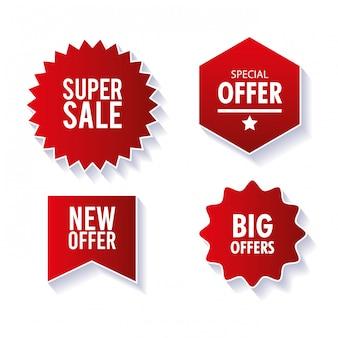 Preisschilder, banner mit roten bändern, verkaufsförderung, website-aufkleber, sonderangebote