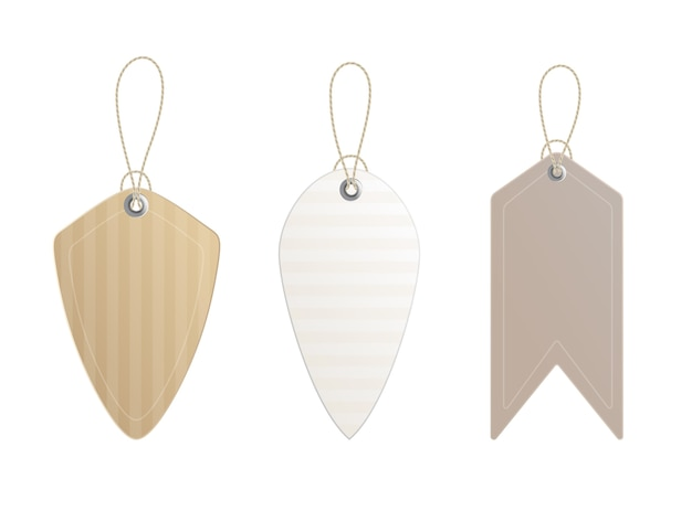 Preisschilder. satz etiketten mit schnur. papierpreis oder geschenkanhänger in verschiedenen formen.