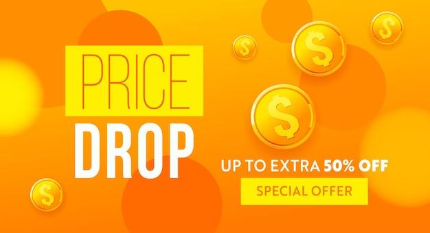 Preissenkung banner design niedrigpreisplakat günstige vorlage preissenkung fallende preise und prices