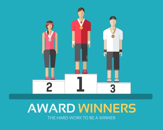 Preisträger im flachen design-hintergrundkonzept