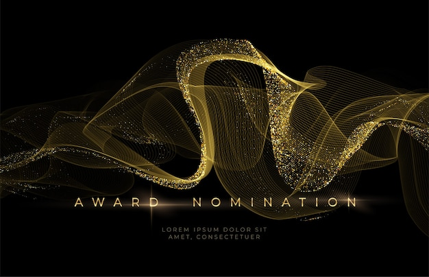 Preisverleihung luxuriöser schwarzer hintergrund mit goldenen glitzerwellen. hintergrund der nominierung.