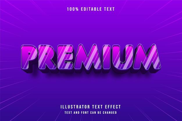 Premium, 3d bearbeitbarer texteffekt lila abstufung blau modernen comic-stil