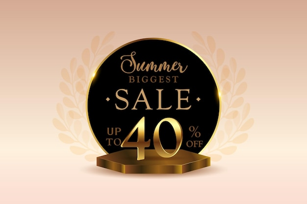 Premium-3d-sommer-sale-banner-rabatt mit vierzig 40 prozent