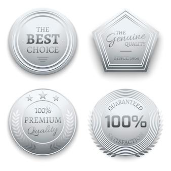 Premium-abzeichen aus poliertem silbermetall