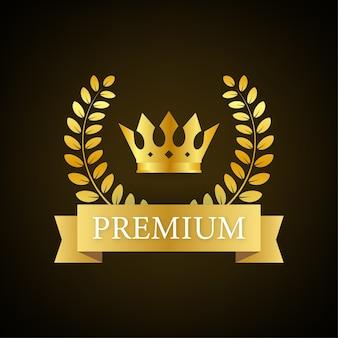 Premium-abzeichen mit krone im königlichen stil
