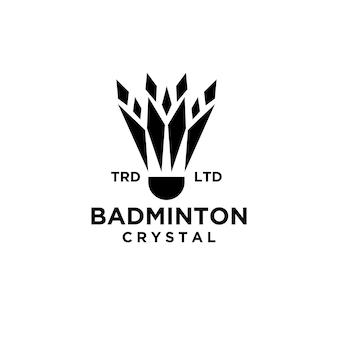 Premium badminton federball mit abstraktem kristallvektorlogo