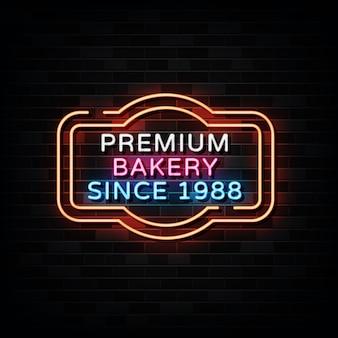 Premium bäckerei leuchtreklamen neon design style Premium Vektoren