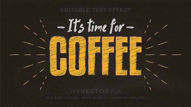 Premium-bearbeitbarer texteffekt der kaffeetypografie-tafel