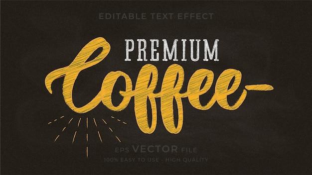 Premium-bearbeitbarer texteffekt der kaffeetypografie-tafel Premium Vektoren