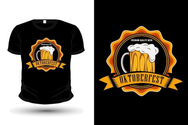Premium bier oktoberfest illustration t-shirt mockup design