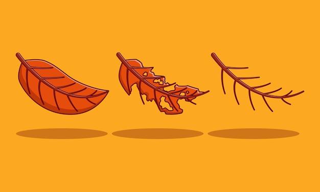 Premium braunes herbstblatt set illustration designkonzept