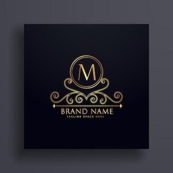 Premium-buchstabe m logo konzept design mit dekorativen element