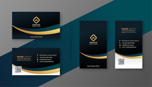 Premium dunkle visitenkarte mit goldenem welleneffekt
