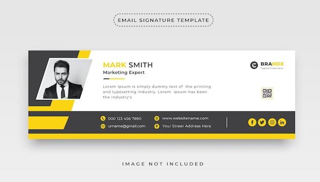 Premium-e-mail-signatur in schwarz und gelb oder persönliches social-media-cover-design