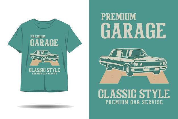 Premium-garage im klassischen stil premium-autoservice-silhouette-t-shirt-design
