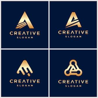 Premium gold buchstabe ein logo für unternehmen