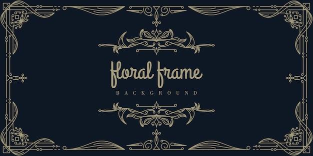 Premium gold floral frame hintergrundvorlage