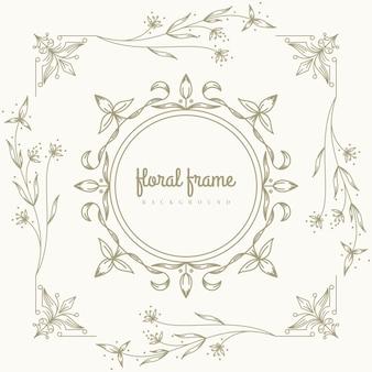 Premium gold logo design mit floralem rahmen