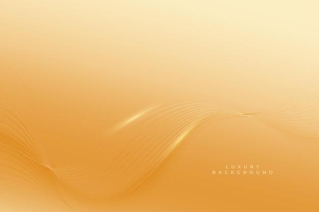 Premium goldener hintergrund mit glatten wellenlinien