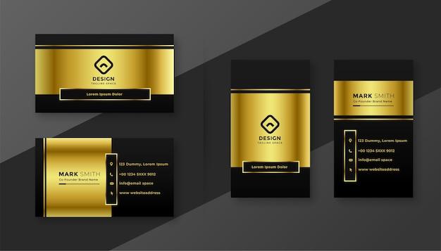 Premium goldenes und schwarzes visitenkartenschablonendesign