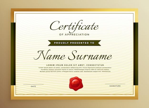 Premium goldenes zertifikat der wertschätzung vorlage