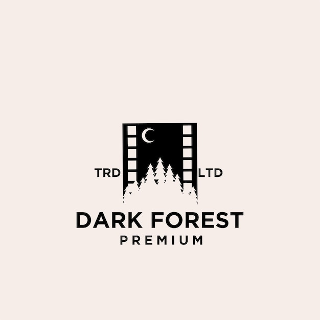 Premium holz baum wald film vektor logo icon design