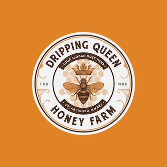 Premium-honigfarm-logo mit bienenkönigin-vektorillustration