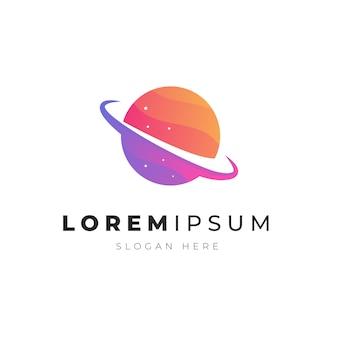 Premium-illustration des bunten abstrakten planetenraumlogos
