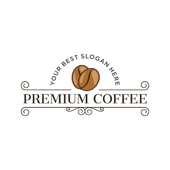 Premium-kaffee-logo im vintage-stil