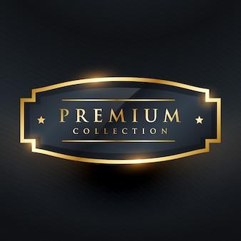 Premium-Kollektion goldene Abzeichen und Label-Design